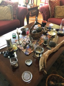 Mabon Altar with Snake Stick