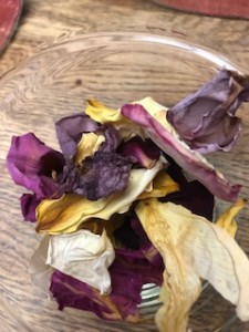 Begin with oven dried rose petals, they smell divine